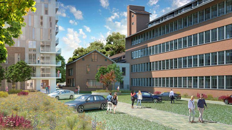 Parking view Gorterscomplex Leiden